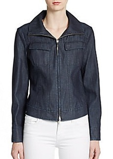 Lafayette 148 New York Zip-Front Cotton Denim Jacket