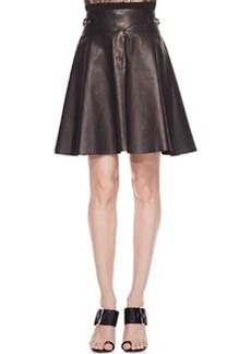 Jason Wu Buckled Lambskin Leather Skirt, Black