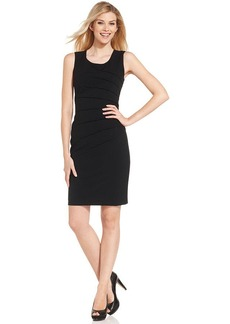 Calvin Klein Petite Dress, Sleeveless Scoop Neck Seamed Sheath
