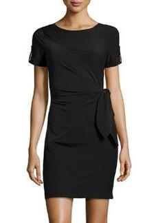 Diane von Furstenberg Short-Sleeve Stretch-Knit Tied Dress, Black