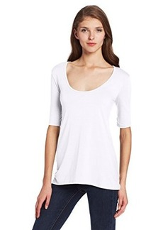 Three Dots Women's Light Weight Viscose 1/2 Sleeve High Low Tee