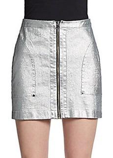 Robert Rodriguez Laminated Denim Mini Skirt