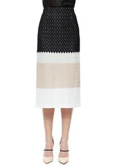 Missoni Striped Midi Skirt, Black/Cream/White