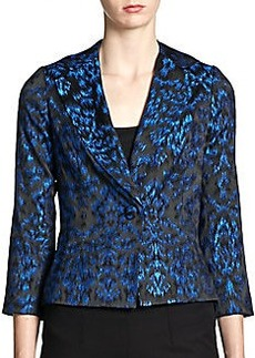 Teri Jon Metallic Jacquard Cropped Jacket