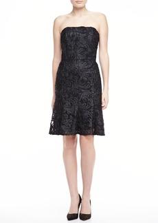 David Meister Strapless Lace Dress, Black