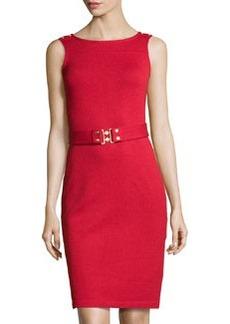 St. John Belted Knit Tank Dress, Ruby