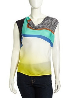 Catherine Malandrino Crystal Sleeveless Graphic-Contrast Silk Blouse, Glass Print