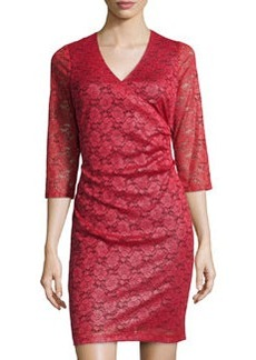 Marc New York by Andrew Marc Shimmer-Lace Tuck-Pleated Dress, Poinsettia