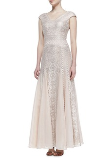 Kay Unger New York Cap-Sleeve Embroidered Godet Gown, Blush/Platinum