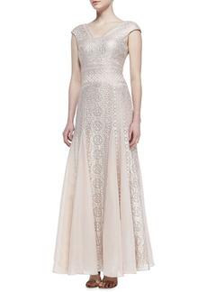 Kay Unger New York Cap-Sleeve Embroidered Godet Gown, Blush/Platinum