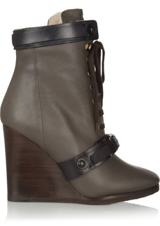 Chloé Shearling-lined leather wedge ankle boots
