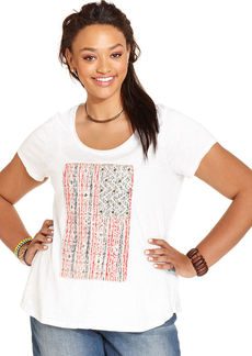 Lucky Brand Plus Size Embellished Flag-Print Tee