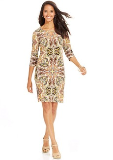 Charter Club Petite Paisley-Print Keyhole Dress