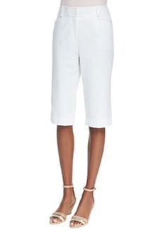 Lafayette 148 New York Metro Stretch Straight-Leg Bermuda Shorts, White