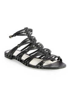 Jason Wu Lizard-Embossed Leather Strappy Sandals