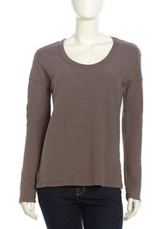 James Perse Ribbed Scoop-Neck Tee, Burro