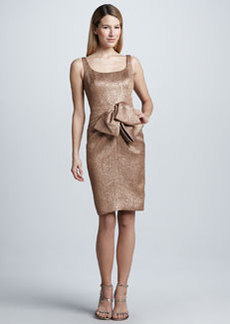 Carmen Marc Valvo Metallic Bow-Waist Cocktail Dress