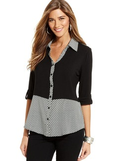 Style&co. Houndstooth-Hem Button-Front Top