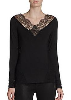 Donna Karan Lace-Trimmed Stretch Jersey Top