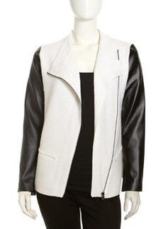 Robert Rodriguez Asymmetric Faux-Leather-Sleeve Jacket