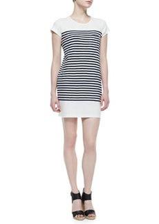 Courtina Striped-Jersey Short-Sleeve Dress, Porcelain/Dark Navy   Courtina Striped-Jersey Short-Sleeve Dress, Porcelain/Dark Navy