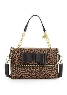 Betsey Johnson Tough Love Pebbled Mini Satchel Bag, Leopard
