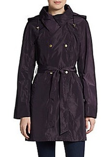 Ellen Tracy Belted Snap-Front Packable Rain Jacket