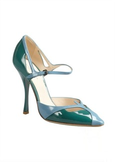 Bottega Veneta green and blue colorblock patent ankle strap pumps