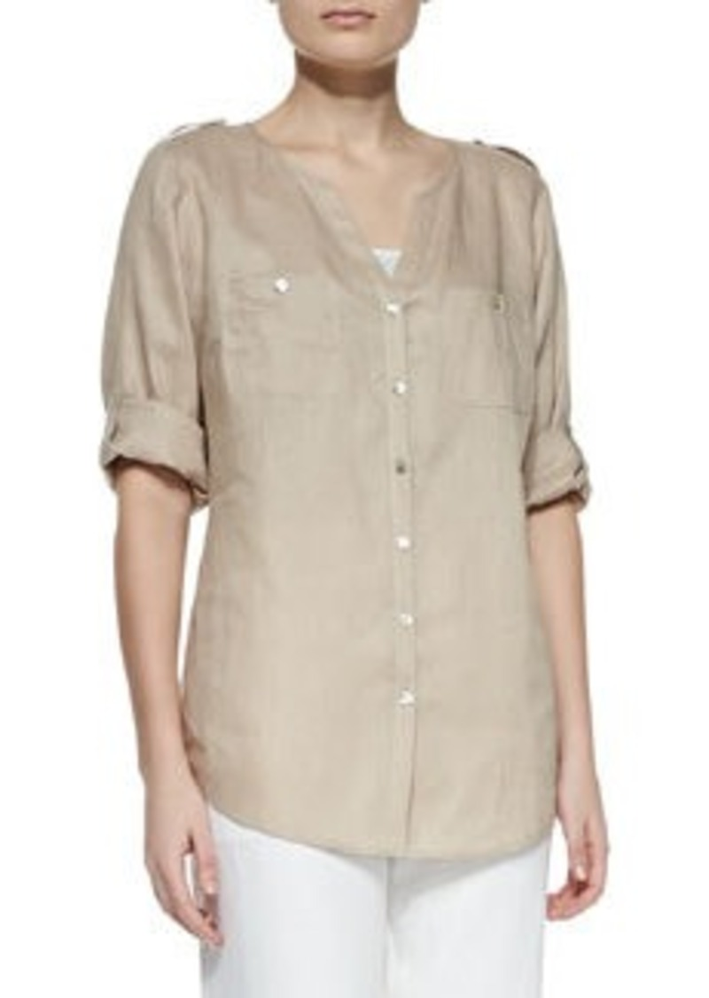 Go Silk Linen Button-Front Tunic