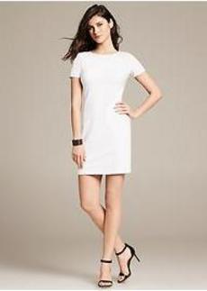 White Ponte Knit Dress