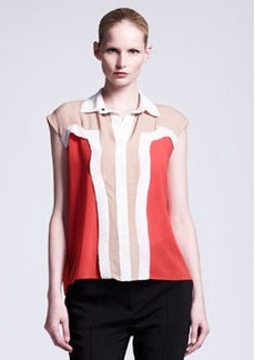 Lanvin Collared Colorblock Blouse