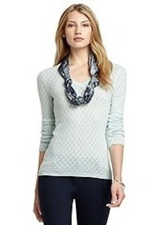 Pointelle V-Neck Cashmere Sweater