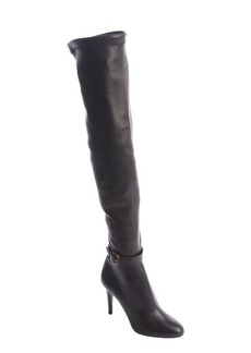 Jimmy Choo black leather knee high side zip heel boots