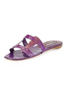 Manolo Blahnik Grella Pieced Snakeskin Flat Slide Sandal, Fuchsia/Purple