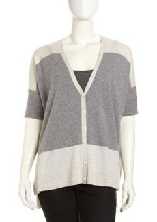 Design History Cashmere Combo Cardigan, Heather Gray