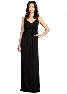 A.B.S. by Allen Schwartz black embellished peplum sleeveless stretch jersey knit gown