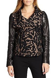 Diane von Furstenberg Marvela Leather-Sleeved Metallic Leopard-Patterned Jacket