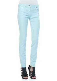 Roberto Cavalli 5-Pocket Solid Skinny Jeans, Light Blue