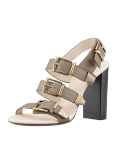 Chloe Triple-Buckle Leather Sandal, Clay