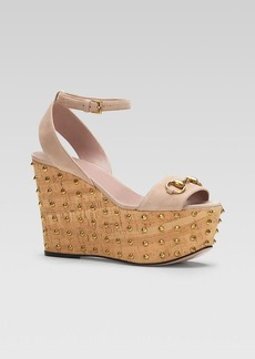 Gucci Liliane Ankle Strap Stud Wedge Sandal