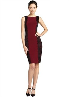 Isaac Mizrahi pomegranate jersey and lace shift dress