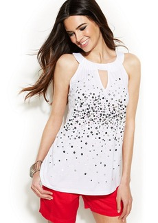 INC International Concepts Sequin-Embellished Halter Top