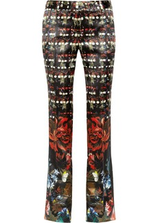 Roberto Cavalli Printed silk-satin flared pants