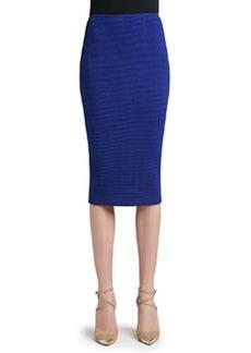 St. John Collection Box Stitch Knit Long Pencil Skirt with Back Slit