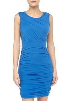 Diane von Furstenberg Angelina Short-Sleeve Ruched Dress, Dark Lapis