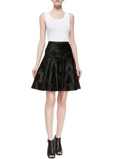 JASON WU Lambskin Leather & Goat Hair Flounce Skirt, Black