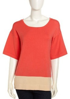 Isaac Mizrahi Colorblocked Knit Scoop-Neck Top, Watermelon