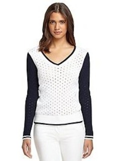 Long-Sleeve Pointelle V-Neck Sweater