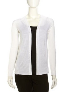 Lafayette 148 New York Crochet-Seam Open Cardigan, Cloud