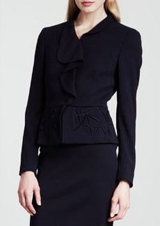 Escada Ruffle-Front Peplum Jacket, Dark Blue